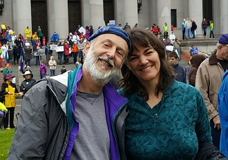 Robert Lovitt and Susie at the March for Science April 2017 Olympia Washington